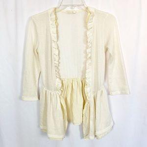 Anthro Pins & Needles cream knit ruffle cardigan S